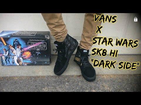 9c5f92cb4033c7 Vans Sk8 Hi Star Wars Dark Side On Feet Review - YouTube