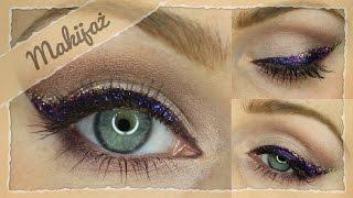 Makijaż sylwestrowy - trójkolorowy brokatowy liner