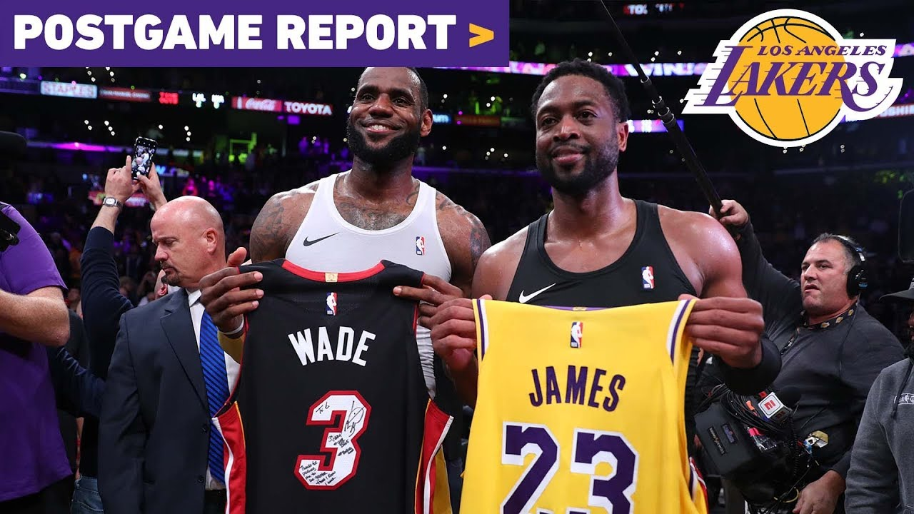 59a64ade0a8 Postgame Report: Lakers Outlast Heat In LeBron's Final Matchup With Dwyane  Wade. Los Angeles Lakers