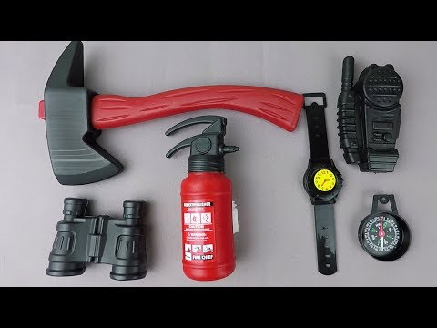 Toy Fire Kit Unboxing Fire extinguisher - Axe Video for Kids!