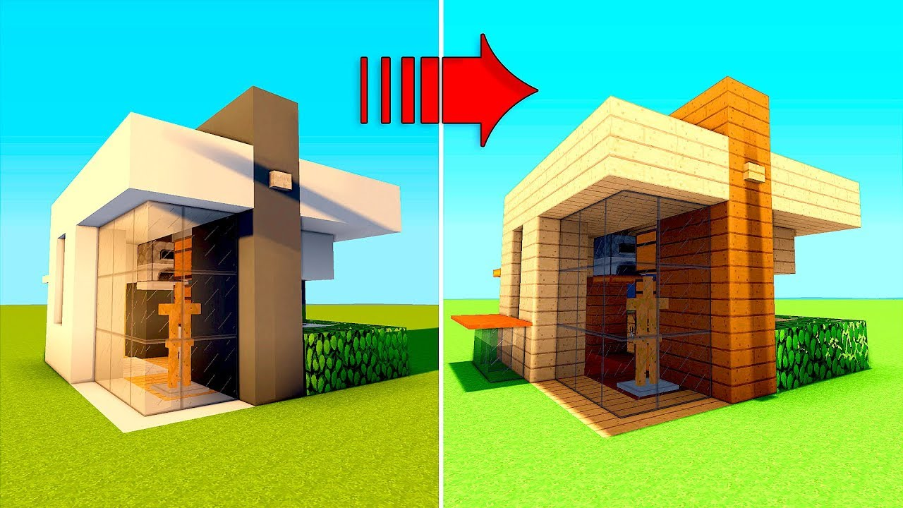 2 Minecraft Houses In 1 Wooden And Modern Minecraft Starter House Tutorial Survival House Easy Youtube