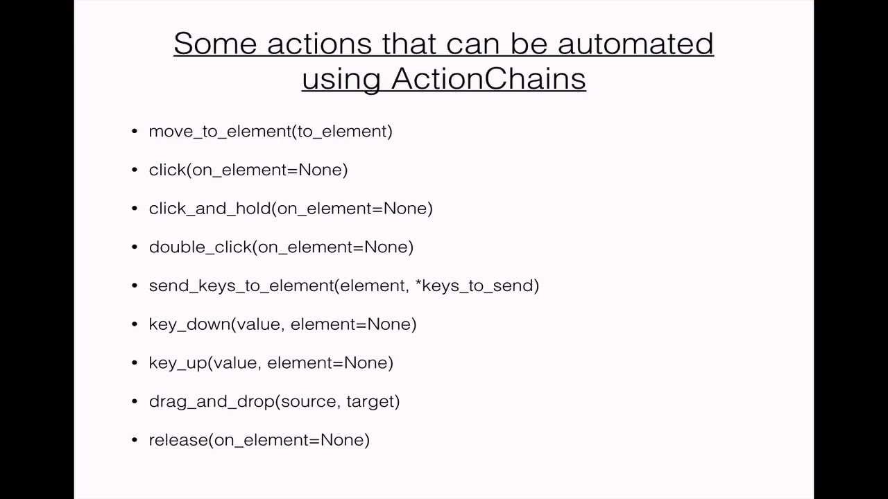 Selenium Python language-ActionChains Overview