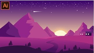 Adobe Illustrator CC Tutoriel - Comment Faire un Beau Paysage de Conception