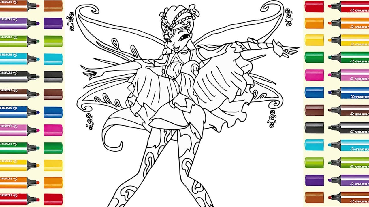 Winx Club Flora colouring page for kids Раскраска Bинкс ...