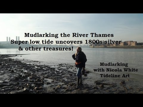Mudlarking on the River Thames - Super Low Tide reveals 1800s silver coin & other treasures