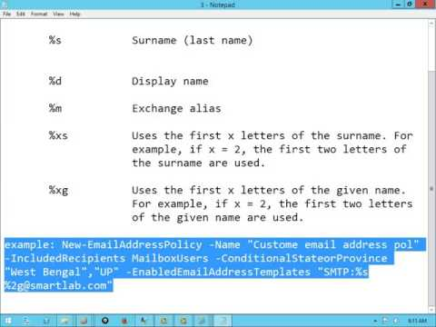 Email address policy in exchange 2013 SP1