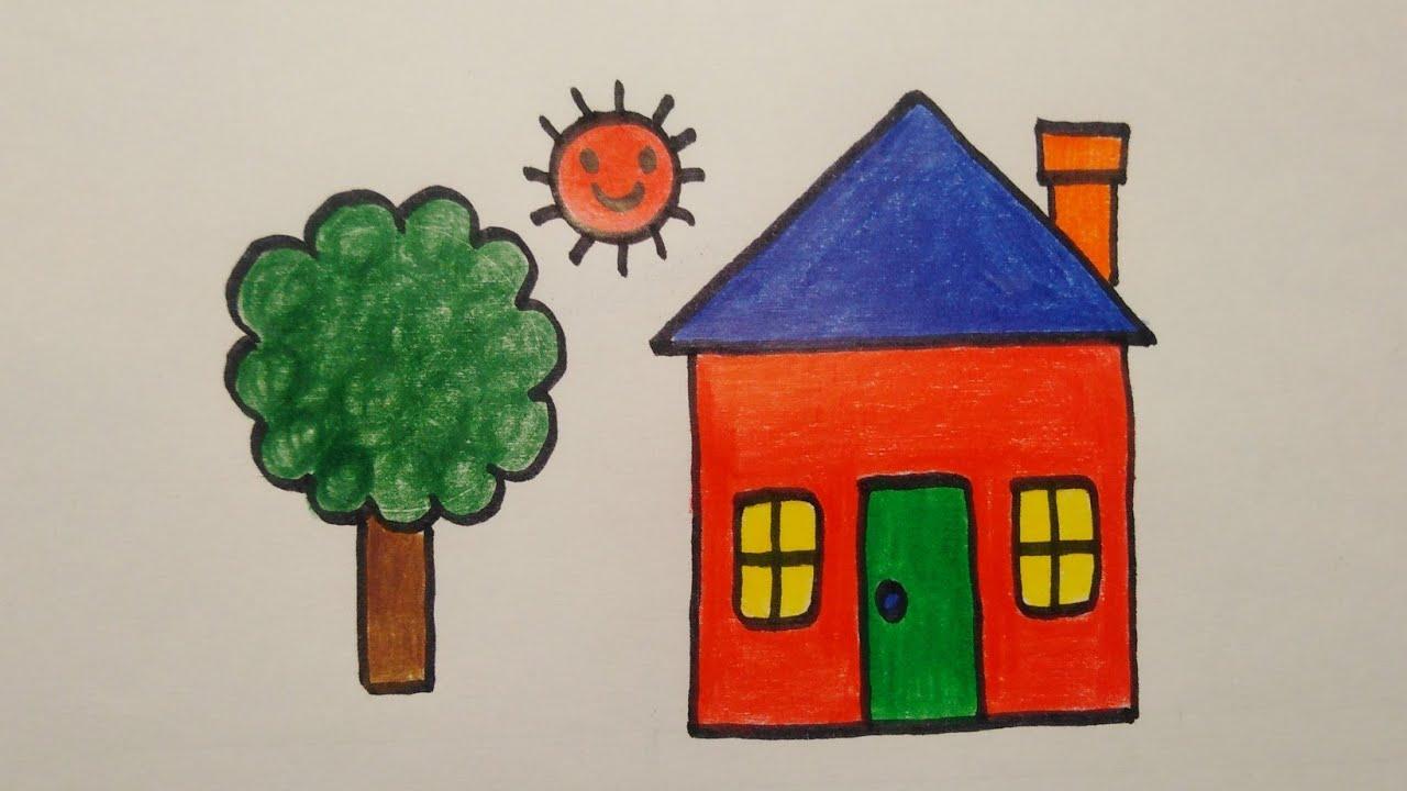 สอนวาดรูปบ้านแบบง่าย ๆ   Drawing a house easy for beginer    My Sky Channel.