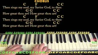 How Great Thou Art (Hymn) Piano Cover Lesson in C with Chords/Lyrics
