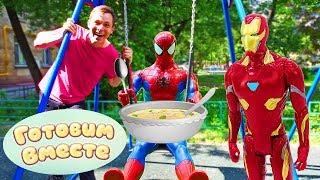 Фото Железный человек и Человек паук учатся готовить в Кафе у Федора - Видео для мальчиков