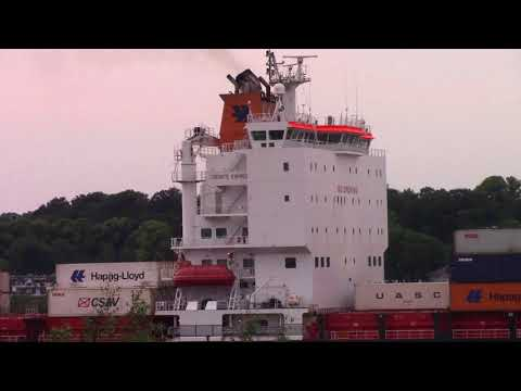 Container Ship TORONTO EXPRESS on Elbe River Inbound into Hamburg, Germany