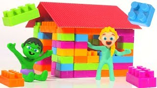 SUPERHERO BABIES BUILD A TOY HOUSE ❤ Spiderman, Hulk & Frozen Play Doh Cartoons For Kids