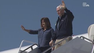 RAW: Vice President Mike Pence arrives in Georgia to survey hurricane damage