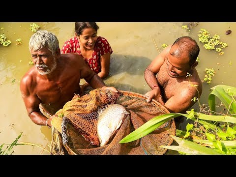 Catching Big Vetki Fish and Cooking - Fish Curry Recipe Village Style - Bengali Machher Jhol