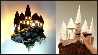 ❣DIY Fantasy Floating Castle Lamp Recycling TRASH❣