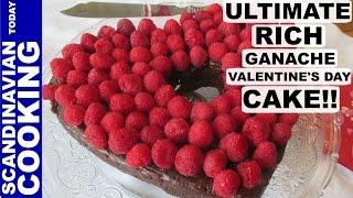 Chocolate Ganache Cake With Raspberries - Chokoladekage Med Chokolade Glasur Og Hindbær.