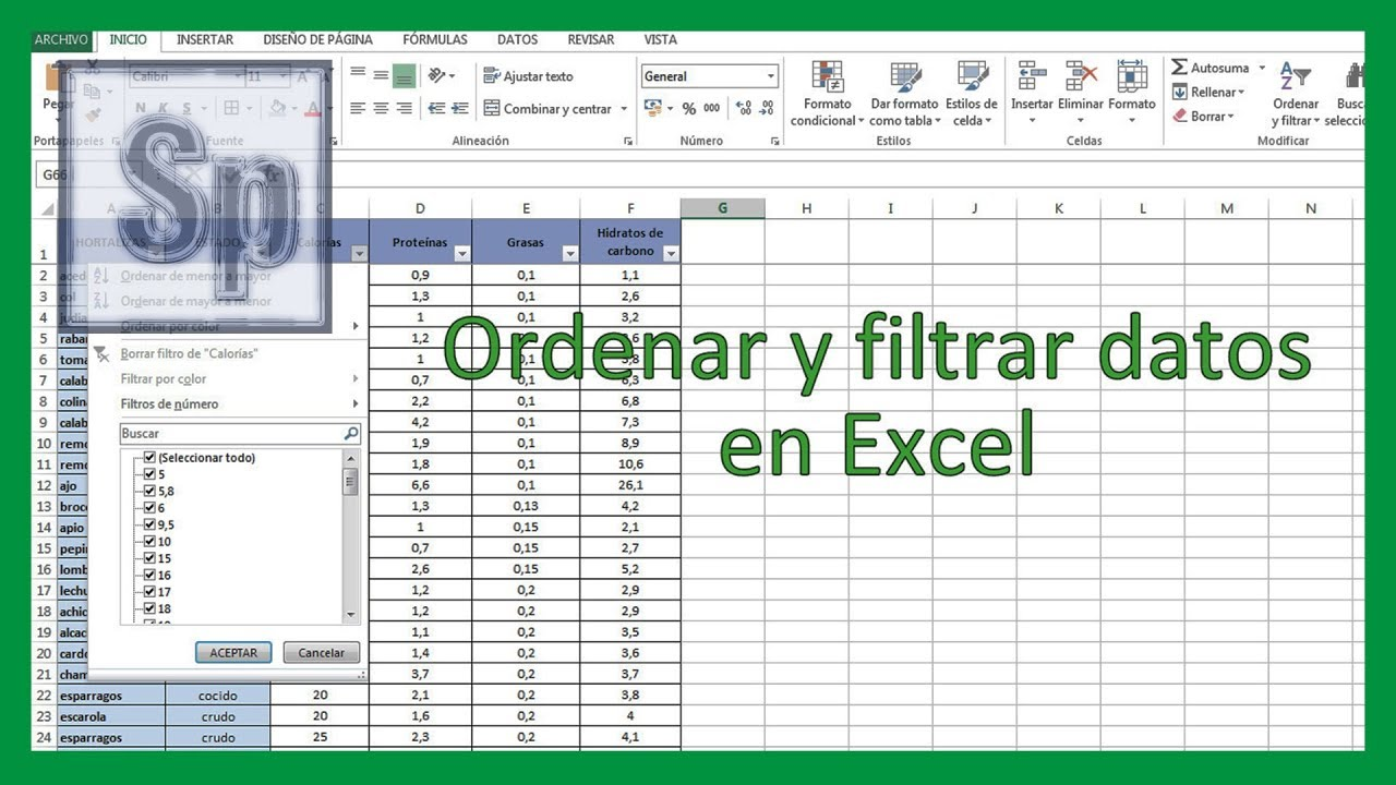 Excel ordenar y filtrar datos en excel tutorial en for Como anotarse en procrear 2016