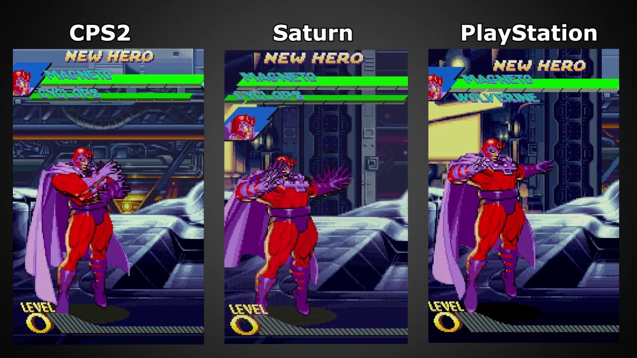 YouTube Comparison: X-Men vs. Street Fighter, CPS2 x Saturn x PlayStation