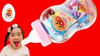あやの舌が赤くなった!! 大きなほにゅうびんたまご アンパンマンお菓子 赤ベー
