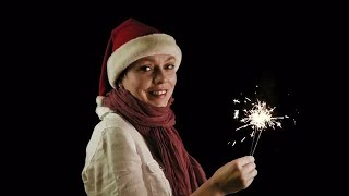 Woman With Santa Hat Stock Video