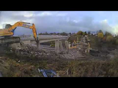 The moment the Bothwell Park Road Bridge was demolished over the M74