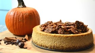 Pumpkin Spice Cheesecake With Candied Pecans