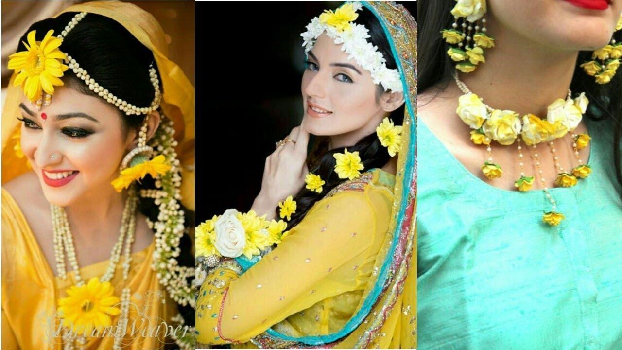 I Mehndi Flower Jewelry : Beautiful elegant fresh flower jewellery mehndi mayo