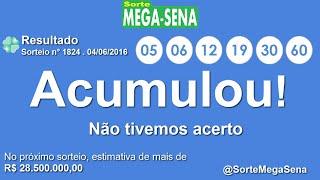 RESULTADO MEGA SENA - 1824 - 04/06/2016 - sábado - Números da Sorte