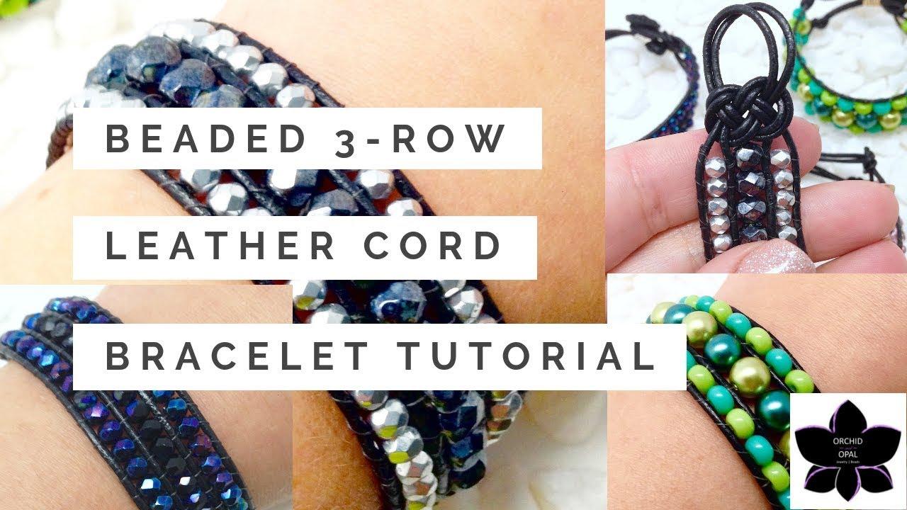 Beaded Three Row Leather Cord Wrap Cuff