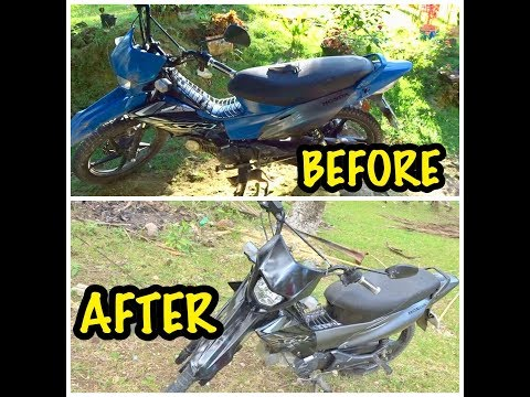 PAINTING MY MOTOR l HONDA XRM 125 l FROM BLUE TO BLACK l WHEN IN BOHOL