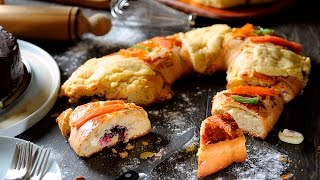 Rosca de Reyes rellena de queso con zarzamora