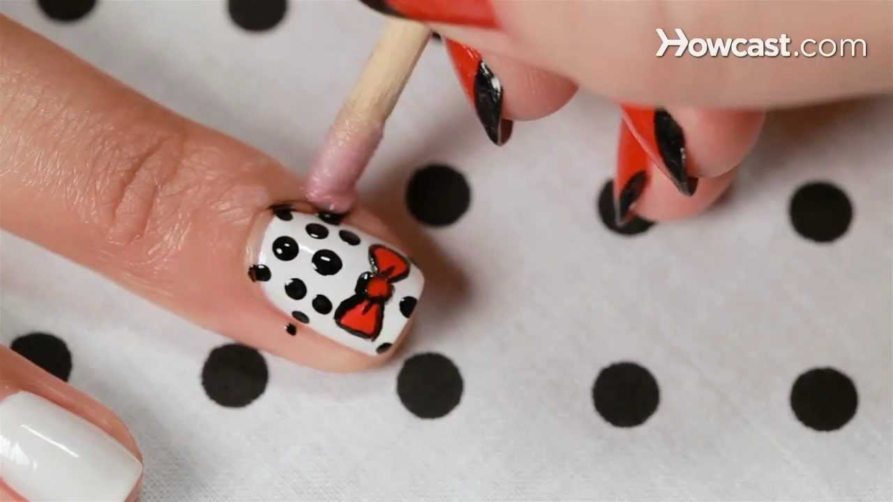 How To Create A Polka Dot Bow Design Nail Art Youtube