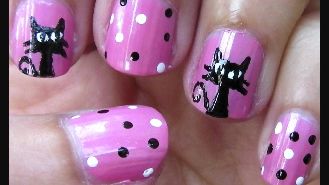 Cat / Kitty Nail Art. - YouTube