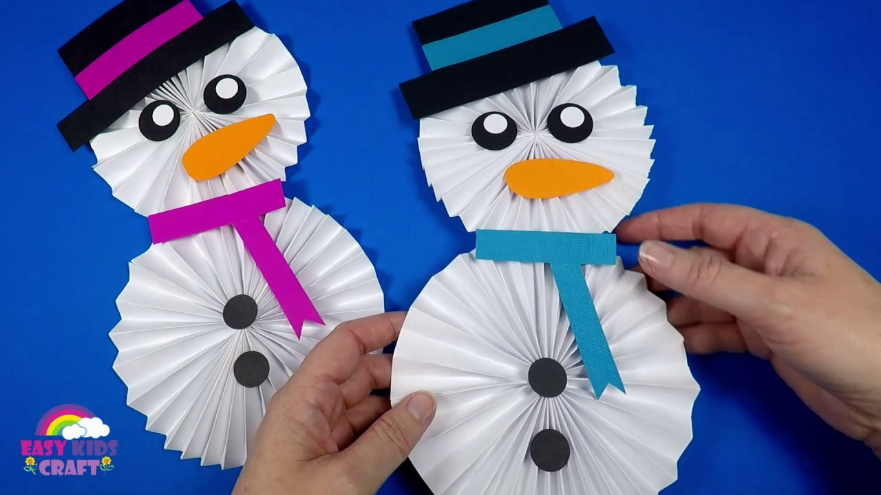 How To Make A Paper Snowman Christmas Craft For Kids Youtube