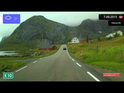 Driving through Lofoten (Norway) from Sund to Leknes 7.09.2015 Timelapse x4