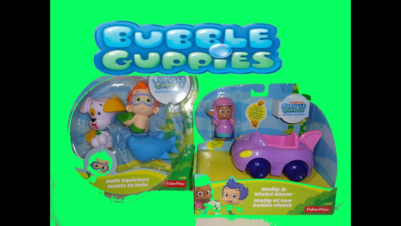 bubble guppies fisher-price unboxing toy bath squirters molly