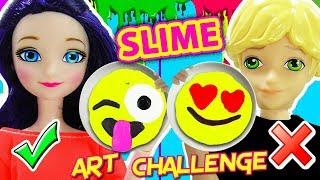 Slime Art Challenge de Emojis con Marinette y Adrien