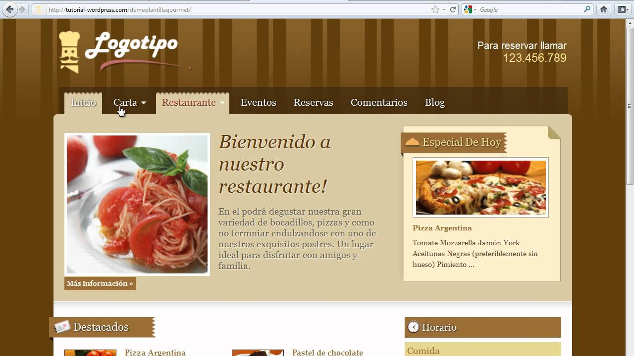 Web para restaurantes - YouTube