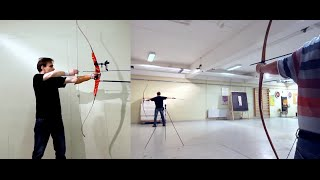 Arquero Moderno dispara tres flechas en 0.6 segundos