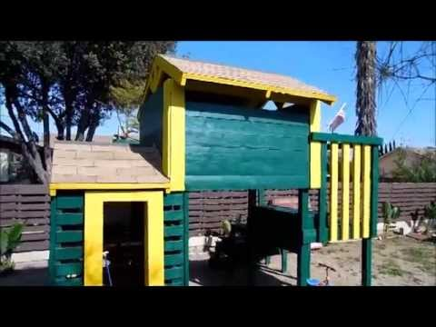 Wood pallet playhouse youtube for How to build a playhouse out of pallets