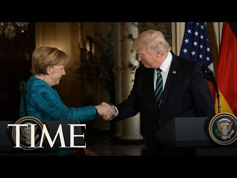 President Trump & Angela Merkel Unveil Berlin Wall Memorials, Speak At NATO Ceremony | TIME