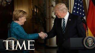President Trump & Angela Merkel Unveil Berlin Wall Memorials, Speak At NATO Ceremony | TIME