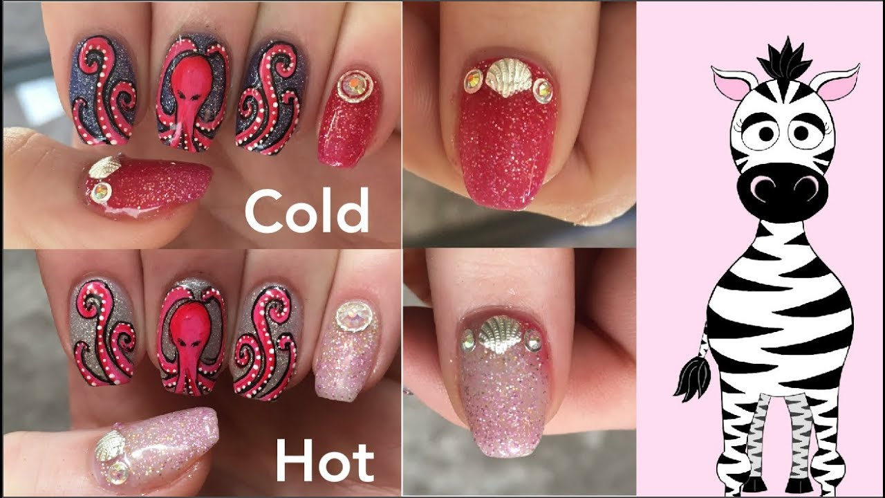 Octopus with a Thermal Background Gel Nail Art Tutorial | Gel Polish ...