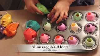 Colorful cake baked in eggshells