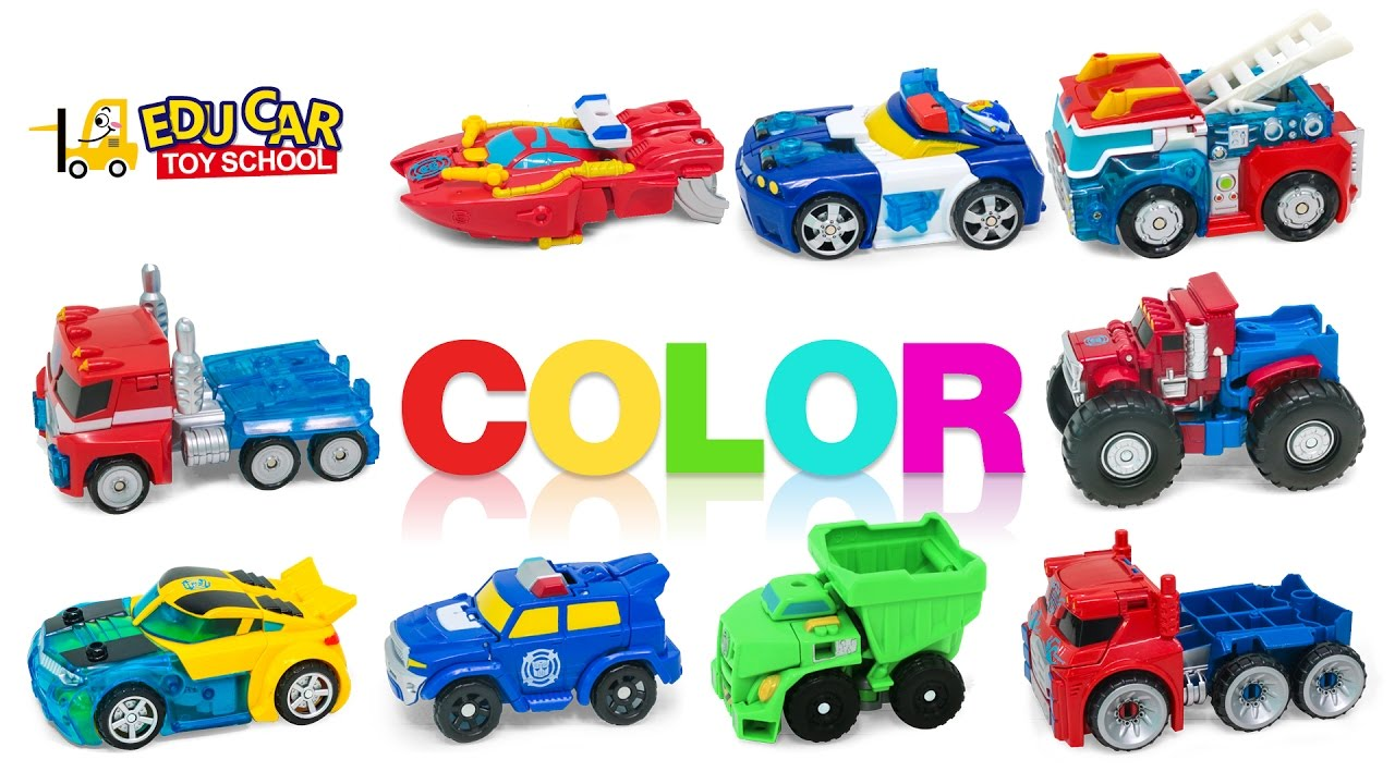 Color car number - Learning Color Number Spechial Vehicles For Kids With Rescue Transformers Car Toys