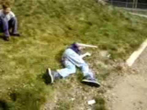 Rolling down a hill, knocking people over like bowling ...