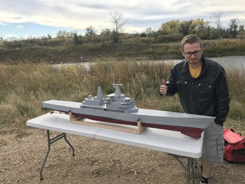 1/96 Scale CGN-38 Virginia Class R/C model ship first lake Test