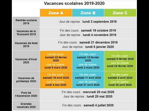 Vacances Scolaires 2019 - 2020