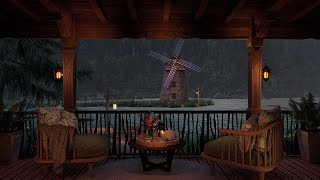 Rainy Night Ambience 🌙 Relax On Your Cozy Lake House Porch On A Windy, Rainy Late Evening.