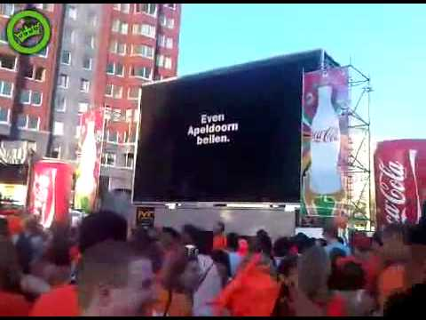 Outdoor screen showing World Cup final dies
