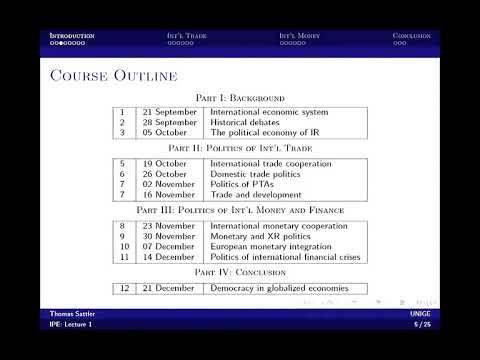 1/12 International Political Economy - The international economic system